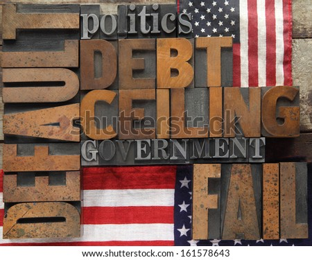 default, debt ceiling and other words in wood and metal type - stock photo