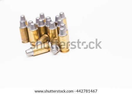 Defender object .45inch or 11mm acp bullet ammo isolated on white - stock photo