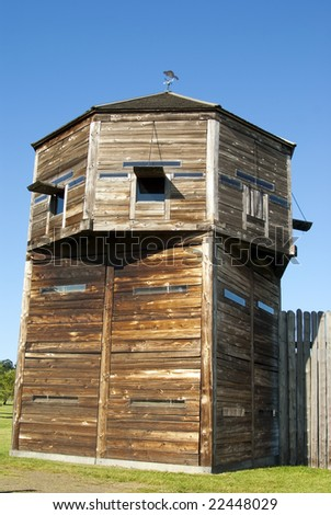 Defense tower on a pioneer log fortress Fort Vancouver Washington State - stock photo