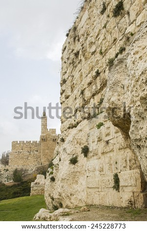 Defensive wall of the ancient holy Jerusalem, western side of the city . - stock photo