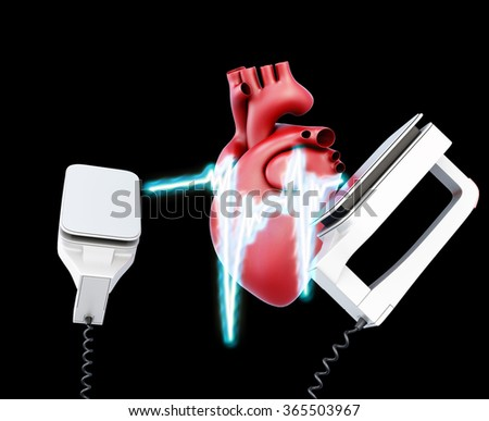 Defibrillator and heart on a black background. 3d illustration. - stock photo