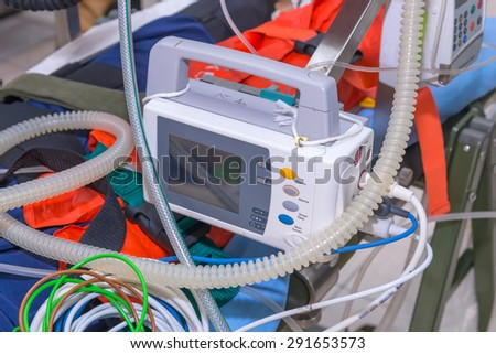Defibrillator and medical equipments for Emergency Medical Service. - stock photo