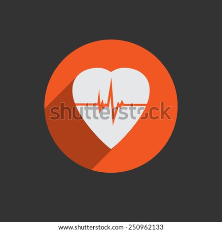 Defibrillator white heart icon isolated on red background illustration - stock photo