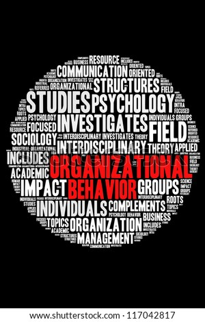 Definition of Organizational behavior in round word collage - stock photo