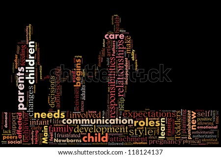 Definition of parenting in word collage - stock photo