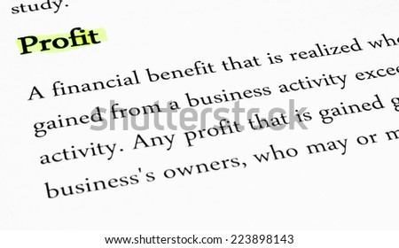 Definition of the word Profit Highlighted - stock photo
