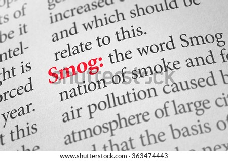 Definition of the word Smog in a dictionary - stock photo