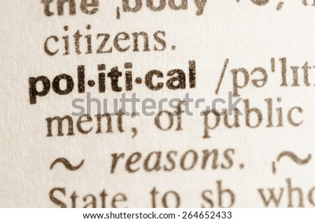 Definition of word political in dictionary - stock photo