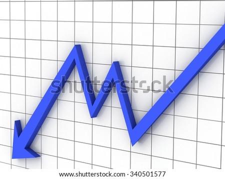 deflation graph - stock photo