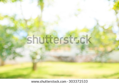 Defocused and blurred image for background of Green Landscape. - stock photo