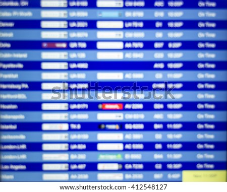 Defocused background. Board listing arrivals and departures. Air - stock photo