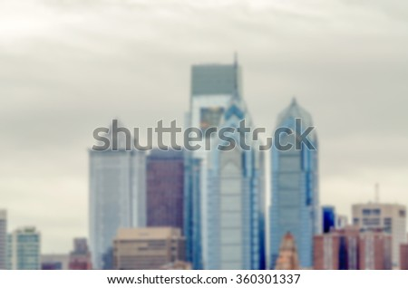 Defocused background of Philadelphia Skyline. Intentionally blurred post production for bokeh effect - stock photo