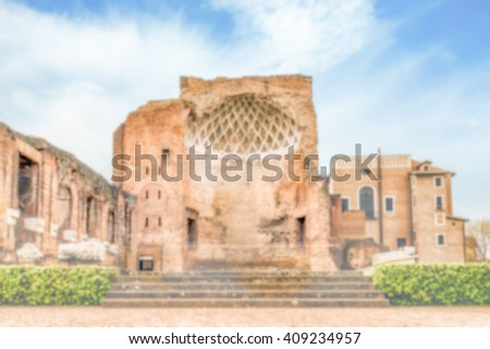 Defocused background with ruins of Venus Temple in Rome, Italy. Intentionally blurred post production for bokeh effect - stock photo