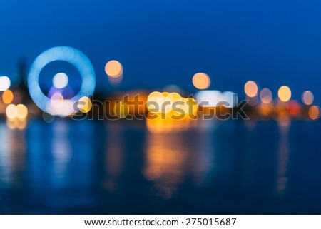 Defocused Blue Boke Bokeh Urban City Background Effect. Design Backdrop - stock photo