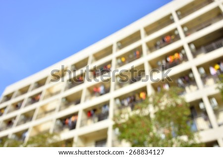 Defocused blur abstract background of modern apartments  - stock photo