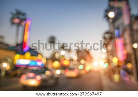 Defocused blur of Hollywood Boulevard at sunset - Bokeh abstract view of world famous Walk of Fame in California - United States of America wonders - Emotional saturated filter with powered sunshine - stock photo