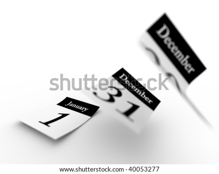 Defocused Calendar sheets flying away.Computer generated concept. - stock photo