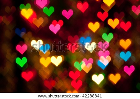 defocused hearts background - stock photo