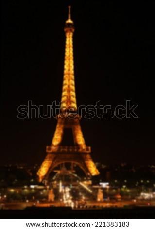 Defocused lights of night Paris.  - stock photo