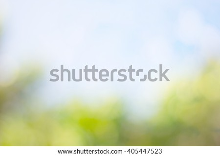 Defocused natural green and blue sky with bokeh - stock photo