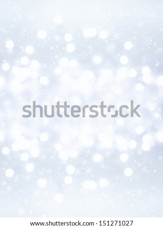 Defocused silver Christmas Bokeh background with snowflakes like  splashes. Christmas background. High Resolution. - stock photo
