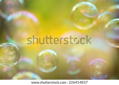 Defocused soap bubbles background - stock photo
