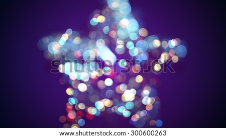 defocused star shape and bokeh lights  - stock photo