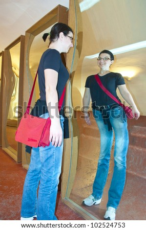 deformation mirror - stock photo
