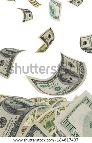 Deformed dollars collected in a heap. - stock photo