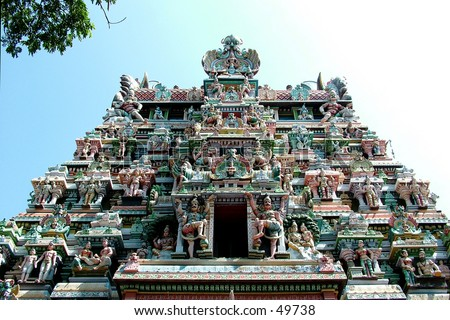 Deities, Meenakshi temple, Hindu pilgrim centre, Madurai, Tamil Nadu, South India, India, Hindu temple, Temple, Temple Entrance, Entrance, Gate, Close up, Close-up, Details, Idol, God, Holiness, Spirituality, Religion - stock photo
