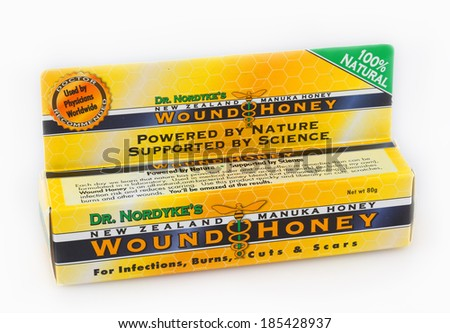 DeLand, FL, USA - April 3, 2014: Wound Honey is made from Manuka honey from New Zealand. It�s proven effective for use in wounds, burns, and infections. - stock photo
