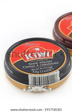 DeLand, FL, USA - May 24, 2014:  Kiwi brand shoe polish has been available since 1906.  It got it�s name from the New Zealand national bird.  Kiwi polish is today available in almost 200 countries. - stock photo
