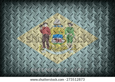 Delaware flag pattern on diamond metal plate texture ,vintage style - stock photo