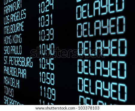 Delay - Closeup of Departure Timetable on Airport - Illustration - stock photo