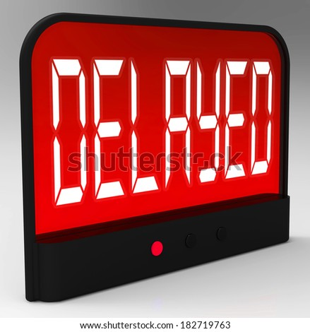 Delayed Clock Showing Postponed Or Running Late - stock photo