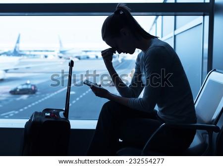 Delayed flight - stock photo