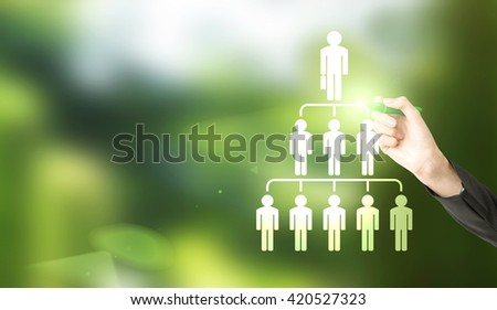 Delegate concept with businesswoman hand drawing abstract employee hierarchy pictogram on green background - stock photo