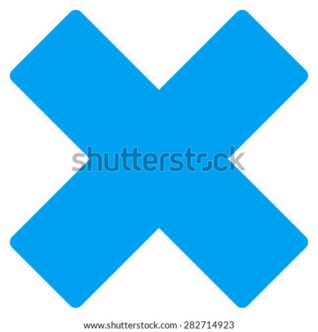Delete icon from Basic Plain Icon Set. Style: flat symbol icon, blue color, rounded angles, white background. - stock photo