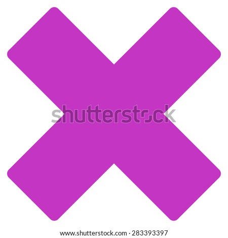 Delete icon from Basic Plain Icon Set. Style: flat symbol icon, violet color, rounded angles, white background. - stock photo