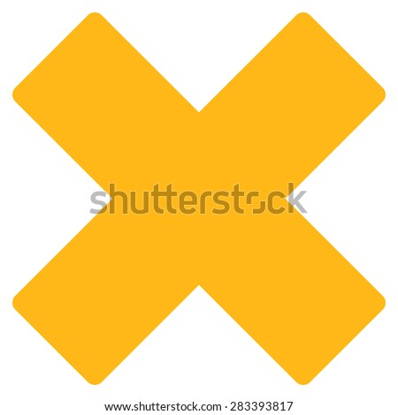 Delete icon from Basic Plain Icon Set. Style: flat symbol icon, yellow color, rounded angles, white background. - stock photo