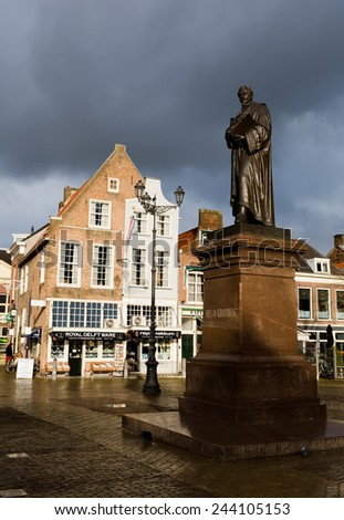 DELFT, NETHERLANDS - JANUARY 04: Statue in the centre of the city Delft on January, 2015 in Delft - stock photo