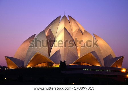 DELHI  DECEMBER 28: Lotus Temple on December 28, 2013 in Delhi.Baha'i House of Worship,also called  Lotus Temple was completed in 1986 - stock photo