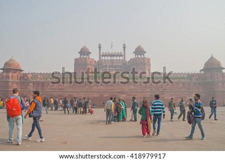 DELHI, INDIA January 6, 2016. Old Delhi street scene, India, Asia - stock photo