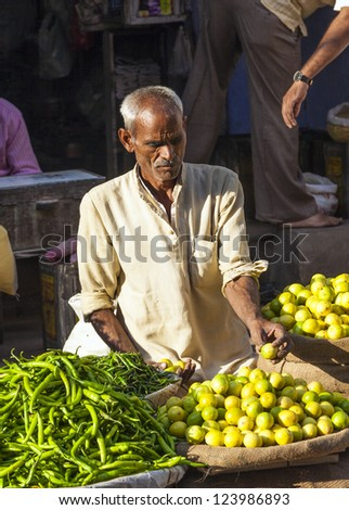 DELHI, INDIA - OCT 16: Chawri Bazar is a specialized wholesale market of food and vegetables on October 16, 2012 in Delhi, India. Established in 1840 it was the first wholesale market of Old Delhi. - stock photo