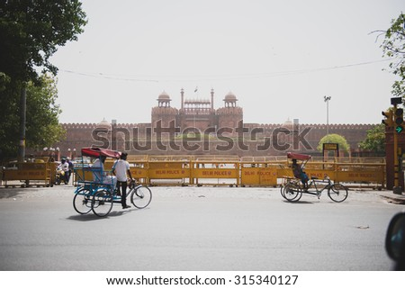DELHI, RAJASTAN / INDIA - MAY 26 2013 - Street shot of red fort at Delhi. - stock photo