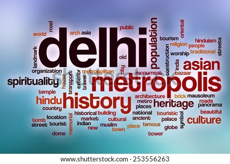 Delhi word cloud concept with abstract background - stock photo