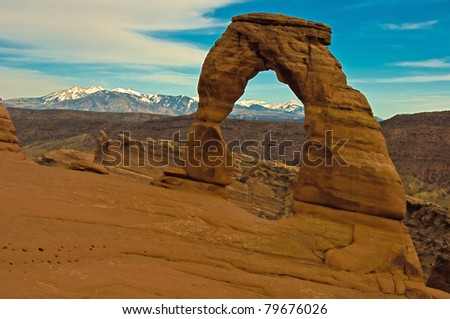 Delicate Arch and La-Sal Mountains. Arches National Park - stock photo