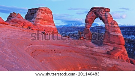 Delicate arch at sunset, Arches National Park, Utah  - stock photo