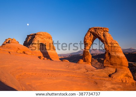 Delicate Arch at sunset in Arches National Park, Utah, USA. - stock photo