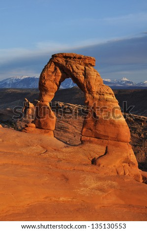 Delicate Arch in Arches National Park at Sunset - stock photo